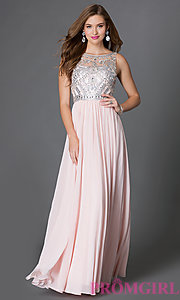 Image of sleeveless floor length jewel embellished sheer-bodice dress Style: DQ-9282 Detail Image 3
