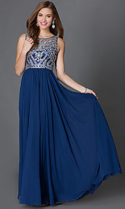 Sleeveless Floor-Length Jewel Embellished Prom Dress