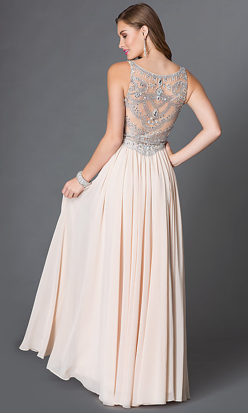 Image of sleeveless floor length jewel embellished sheer-bodice dress Style: DQ-9282 Back Image