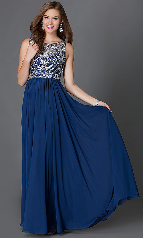 Image of sleeveless floor length jewel embellished sheer-bodice dress Style: DQ-9282 Front Image