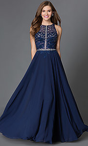 Image of illusion-top racerback floor-length prom dress. Style: DQ-9283 Front Image