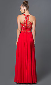 Image of illusion-top racerback floor-length prom dress. Style: DQ-9283 Back Image
