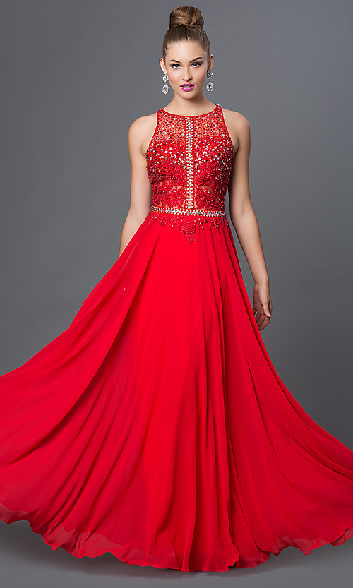 Image of illusion-top racerback floor-length prom dress. Style: DQ-9283 Detail Image 1