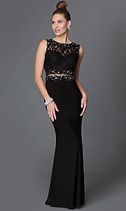 Image of floor-length mock two-piece sheer jewel-embellished waist lace bodice dress Style: DQ-9321 Front Image
