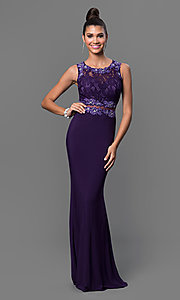 Image of floor-length mock two-piece sheer jewel-embellished waist lace bodice dress Style: DQ-9321 Detail Image 2