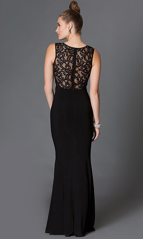 Image of floor-length mock two-piece sheer jewel-embellished waist lace bodice dress Style: DQ-9321 Back Image