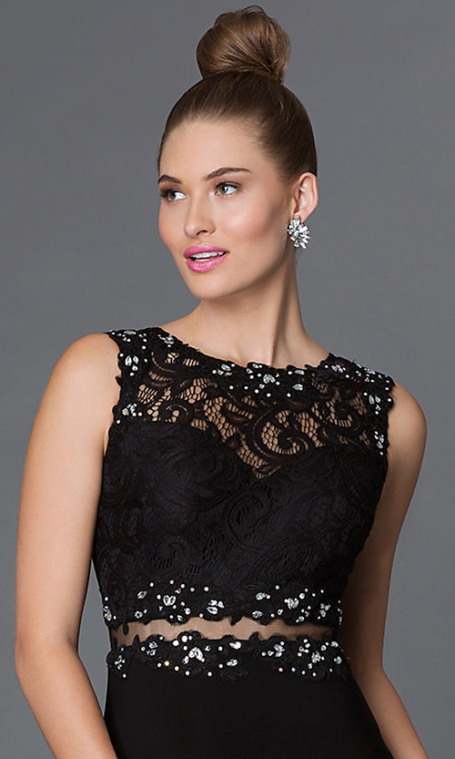 Image of floor-length mock two-piece sheer jewel-embellished waist lace bodice dress Style: DQ-9321 Detail Image 1