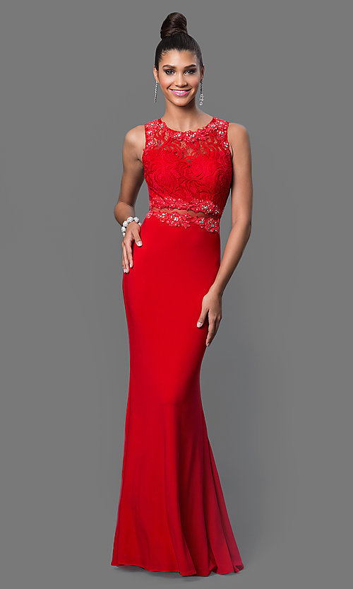 Image of floor-length mock two-piece sheer jewel-embellished waist lace bodice dress Style: DQ-9321 Detail Image 3