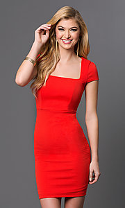 Red Short Sleeve Holiday Dress