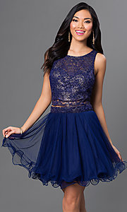 Image of short two-piece navy-blue party dress with open back Style: AS-i514256F4 Front Image