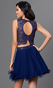 Image of short two-piece navy-blue party dress with open back Style: AS-i514256F4 Back Image