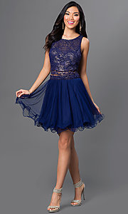Image of short two-piece navy-blue party dress with open back Style: AS-i514256F4 Detail Image 1