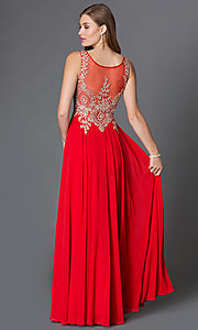 Image of long sleeveless jewel embellished lace applique sheer back chiffon prom dress  Style: DQ-9191 Back Image