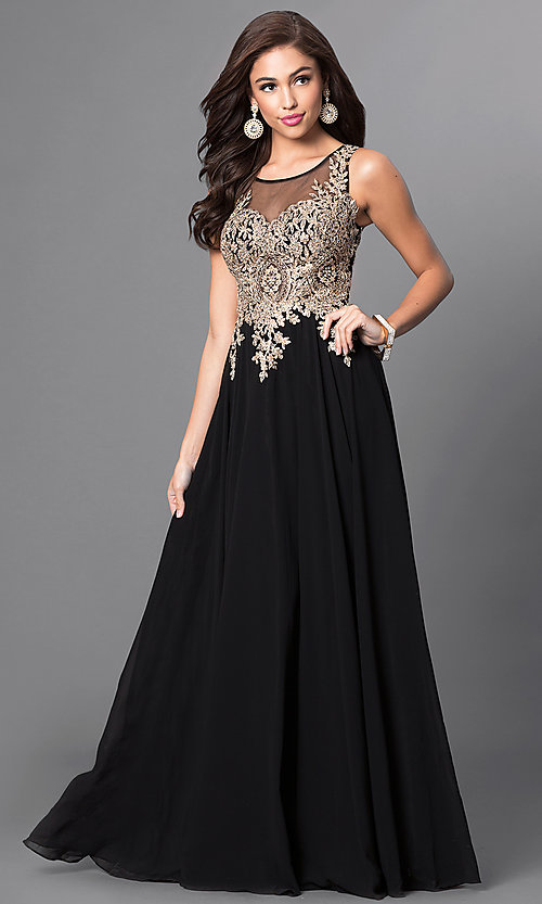 Image of long sleeveless jewel embellished lace applique sheer back chiffon prom dress  Style: DQ-9191 Front Image