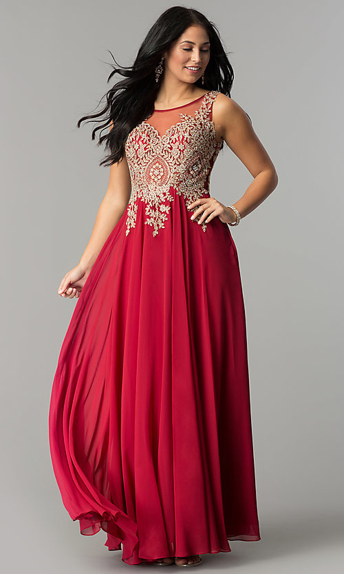 Image of long sleeveless jewel embellished lace applique sheer back chiffon prom dress  Style: DQ-9191 Detail Image 3