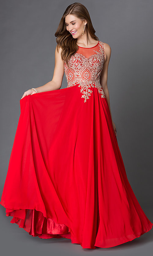 Image of long sleeveless jewel embellished lace applique sheer back chiffon prom dress  Style: DQ-9191 Detail Image 1
