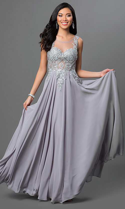 Image of long sleeveless jewel embellished lace applique sheer back chiffon prom dress  Style: DQ-9191 Detail Image 2