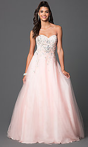 Long Strapless Sweetheart Jewel Embellished Dress DQ-9166 -PromGirl