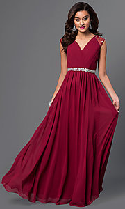 Long V-Neck Prom Dress with Pleated Bodice
