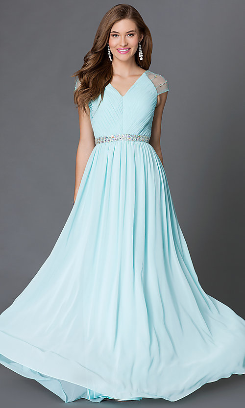 Image of long V-neck dress with sheer jewel-embellished cap sleeves pleated bodice and jeweled waist  Style: DQ-9182 Detail Image 2