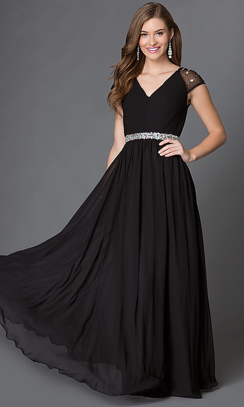 Image of long V-neck dress with sheer jewel-embellished cap sleeves pleated bodice and jeweled waist  Style: DQ-9182 Detail Image 1