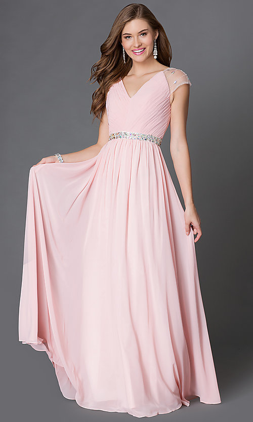 Image of long V-neck dress with sheer jewel-embellished cap sleeves pleated bodice and jeweled waist  Style: DQ-9182 Detail Image 3
