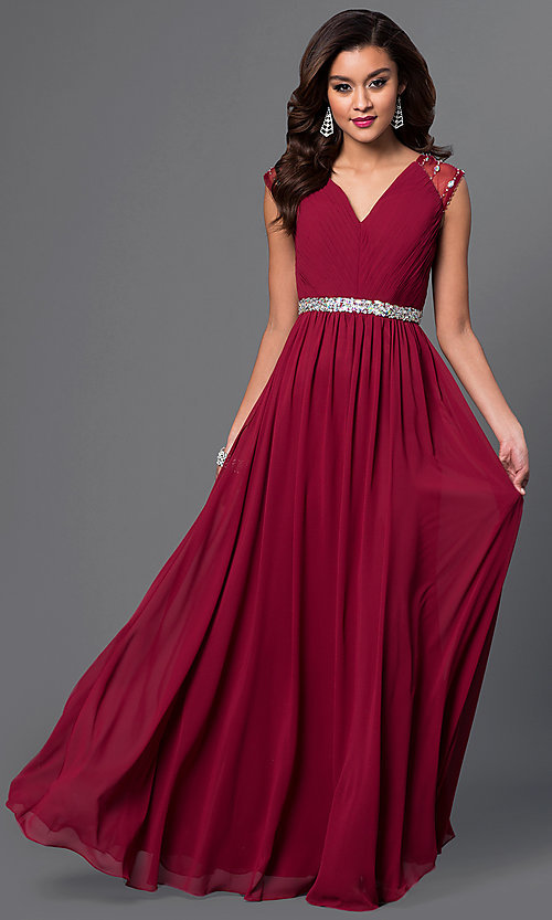 Image of long V-neck dress with sheer jewel-embellished cap sleeves pleated bodice and jeweled waist  Style: DQ-9182 Front Image