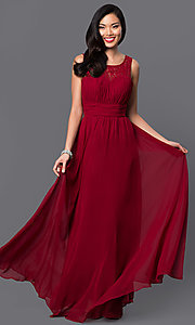 Long Sleeveless Corset Dress with Ruched Bodice