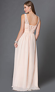 Image of long sleeveless corset dress with ruched bodice. Style: DQ-9111 Back Image