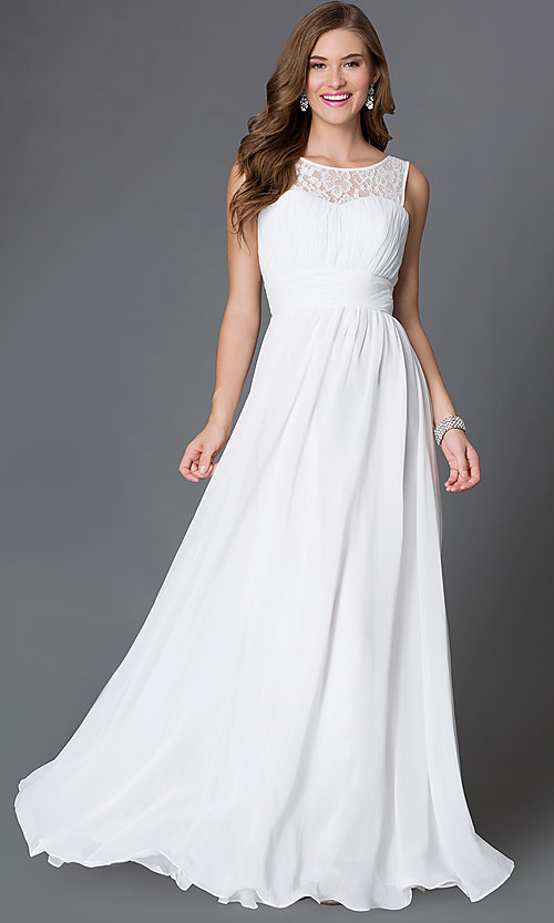 Image of long sleeveless corset dress with ruched bodice. Style: DQ-9111 Detail Image 2