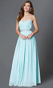 Image of long strapless sweetheart corset prom dress  Style: DQ-9137 Detail Image 2