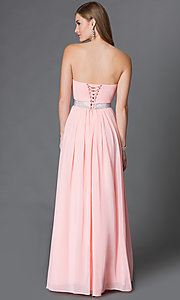 Image of long strapless sweetheart corset prom dress  Style: DQ-9137 Back Image