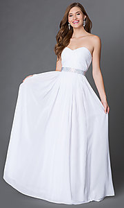 Image of long strapless sweetheart corset prom dress  Style: DQ-9137 Detail Image 1