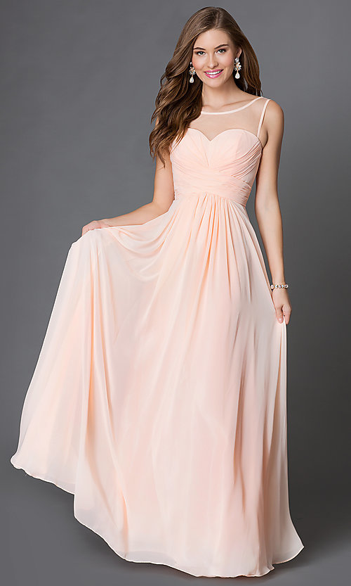 Image long of sleeveless dress with corset back Style: DQ-9202 Detail Image 1