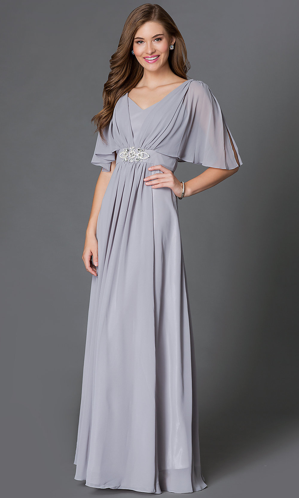 Empire-Waist Long Chiffon Dress with Sleeves