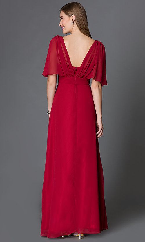 Image of empire-waist full-length dress with flutter sleeves Style: DQ-9240 Back Image