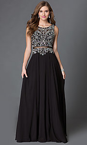 Mock Two Piece Prom Dress with Jeweled Detailing