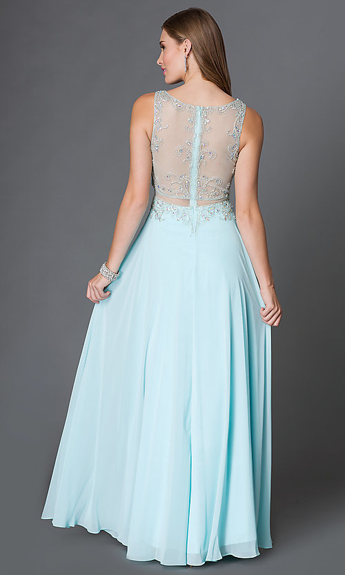 Image of long illusion mock two-piece dress with jeweled detailing Style: DQ-9150 Back Image
