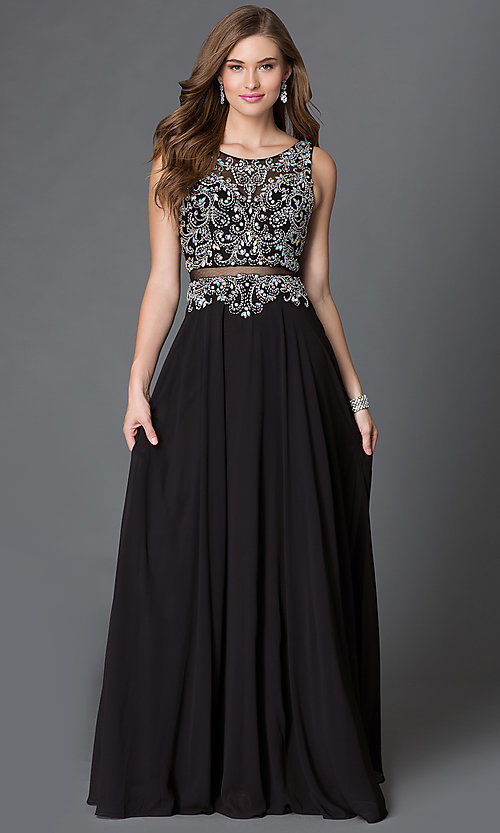Image of long illusion mock two-piece dress with jeweled detailing Style: DQ-9150 Front Image