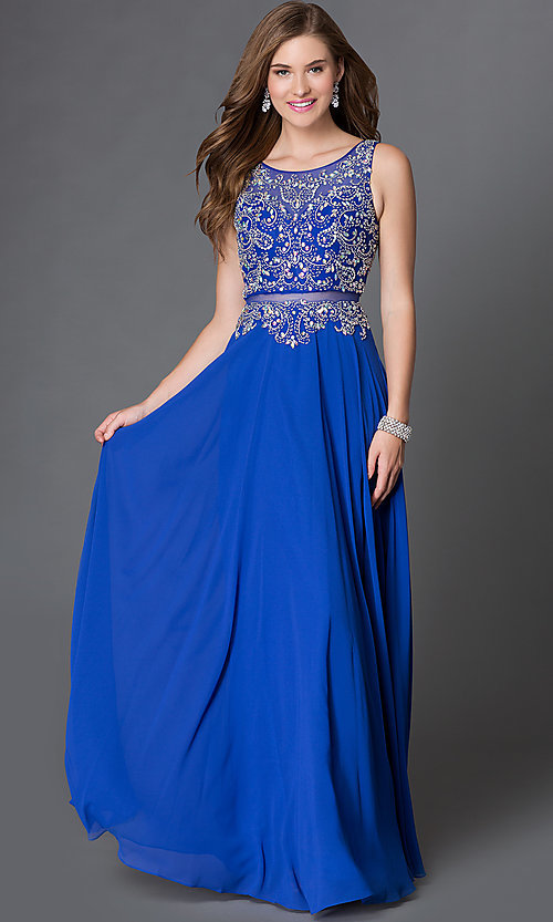 Image of long illusion mock two-piece dress with jeweled detailing Style: DQ-9150 Detail Image 2