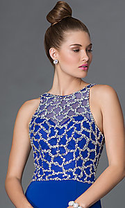 Image of long sleeveless illusion-bodice side-slit prom dress Style: DQ-9053 Detail Image 3