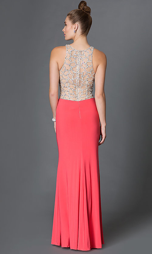 Image of long sleeveless illusion-bodice side-slit prom dress Style: DQ-9053 Back Image