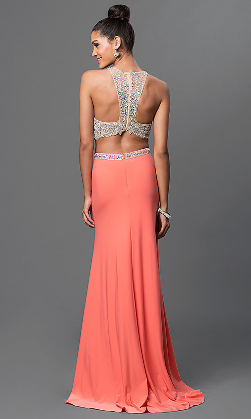 Image of long two-piece jeweled-bodice dress Style: DQ-9277 Back Image