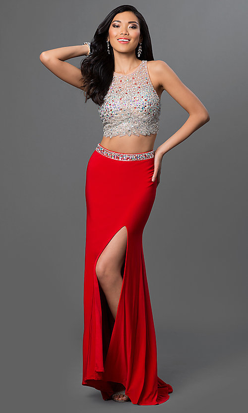 Image of long two-piece jeweled-bodice dress Style: DQ-9277 Front Image