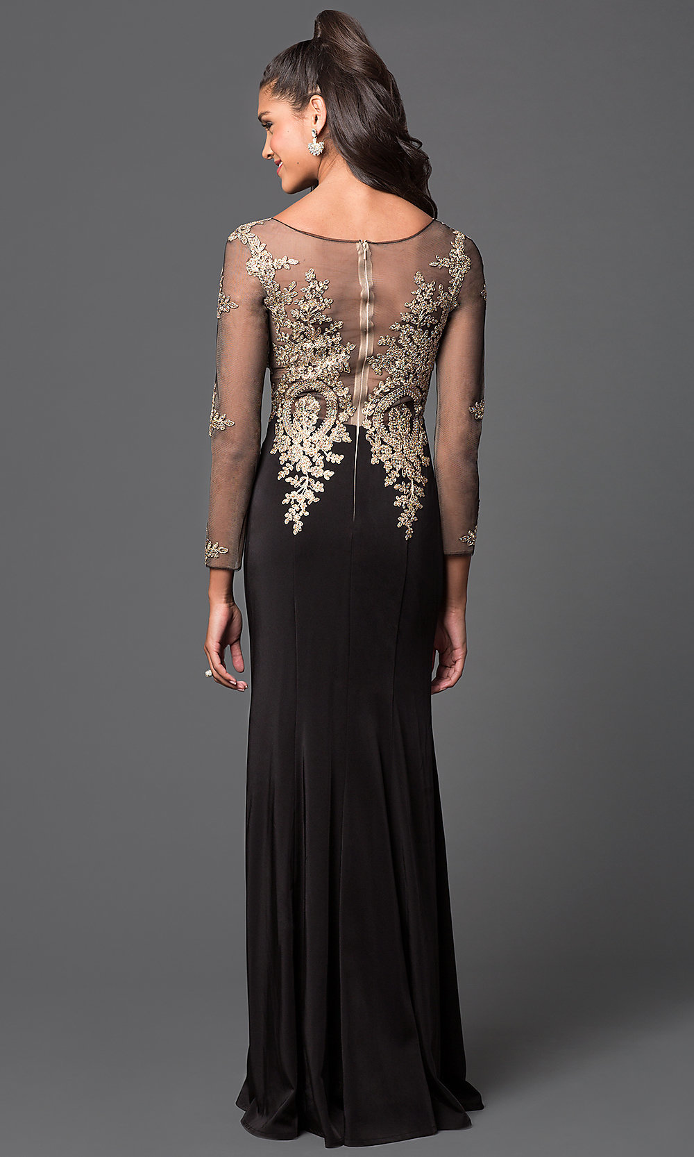 Black dress gold lace - Hover To Zoom