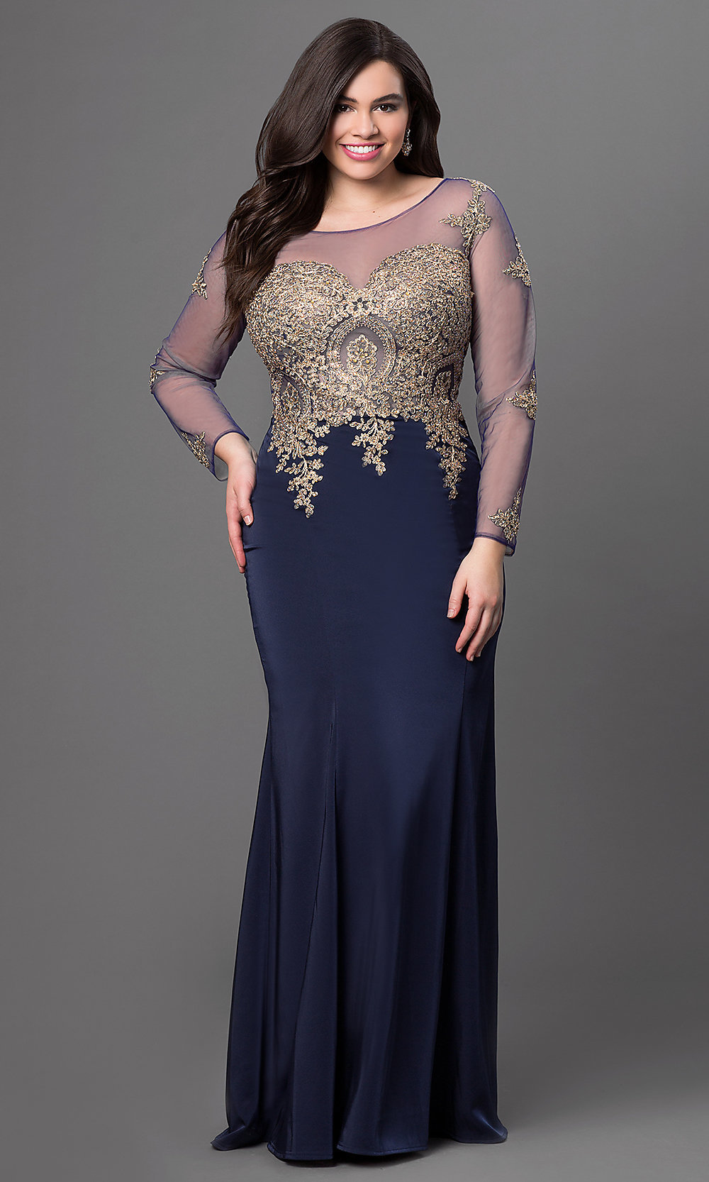 Illusion Dress with Lace Applique - PromGirl