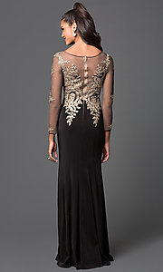 Image of illusion dress with lace applique and sleeves. Style: DQ-8999 Back Image