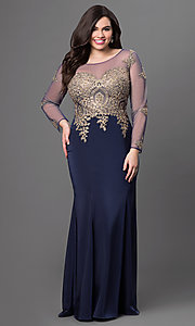 Image of illusion dress with lace applique and sleeves. Style: DQ-8999 Detail Image 3