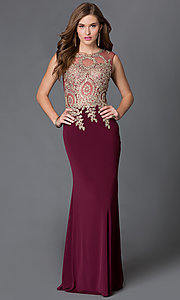 Image of sleeveless long dress with jeweled lace applique and sheer bodice Style: DQ-9173 Front Image