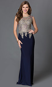 Image of sleeveless long dress with jeweled lace applique and sheer bodice Style: DQ-9173 Detail Image 3